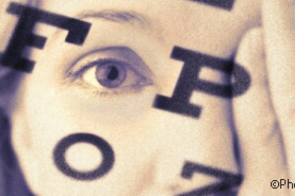 Auge mit Buchstaben