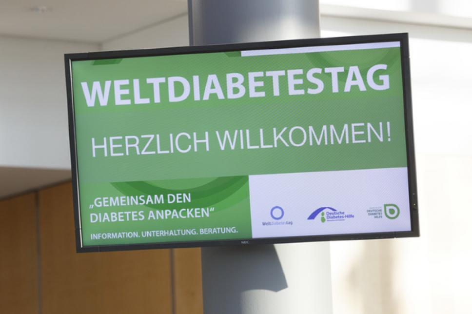 Weltdiabetes Tag 2014 in Leipzig - Willkommensschld