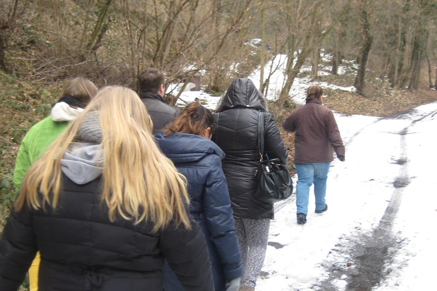 Gruppe wandert im Wald im Schnee