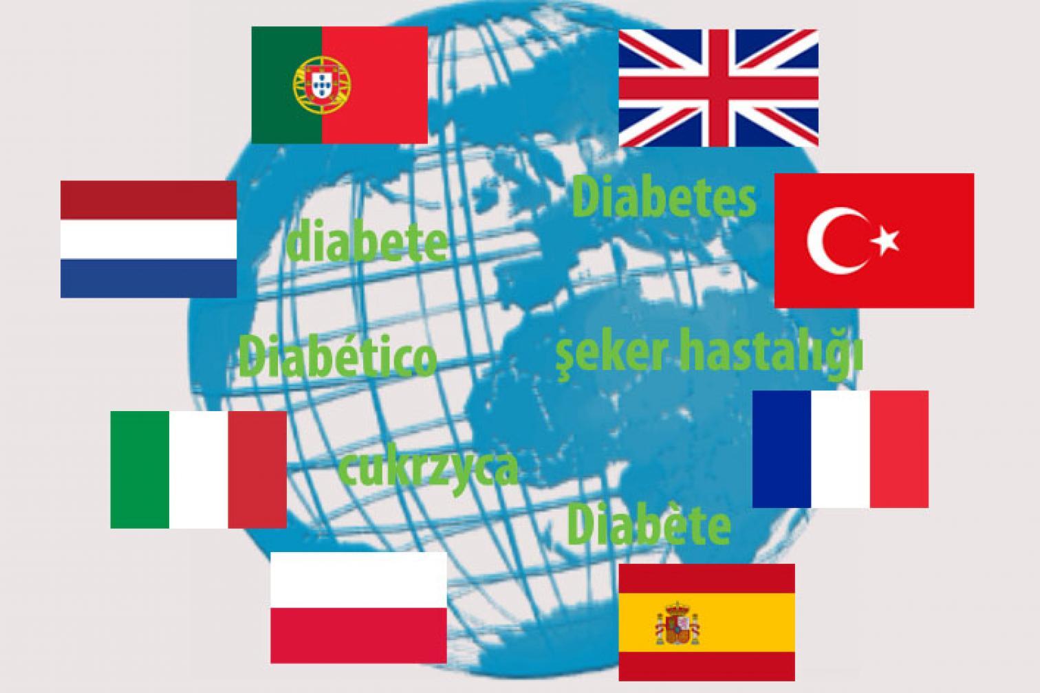 Flaggen um Globus