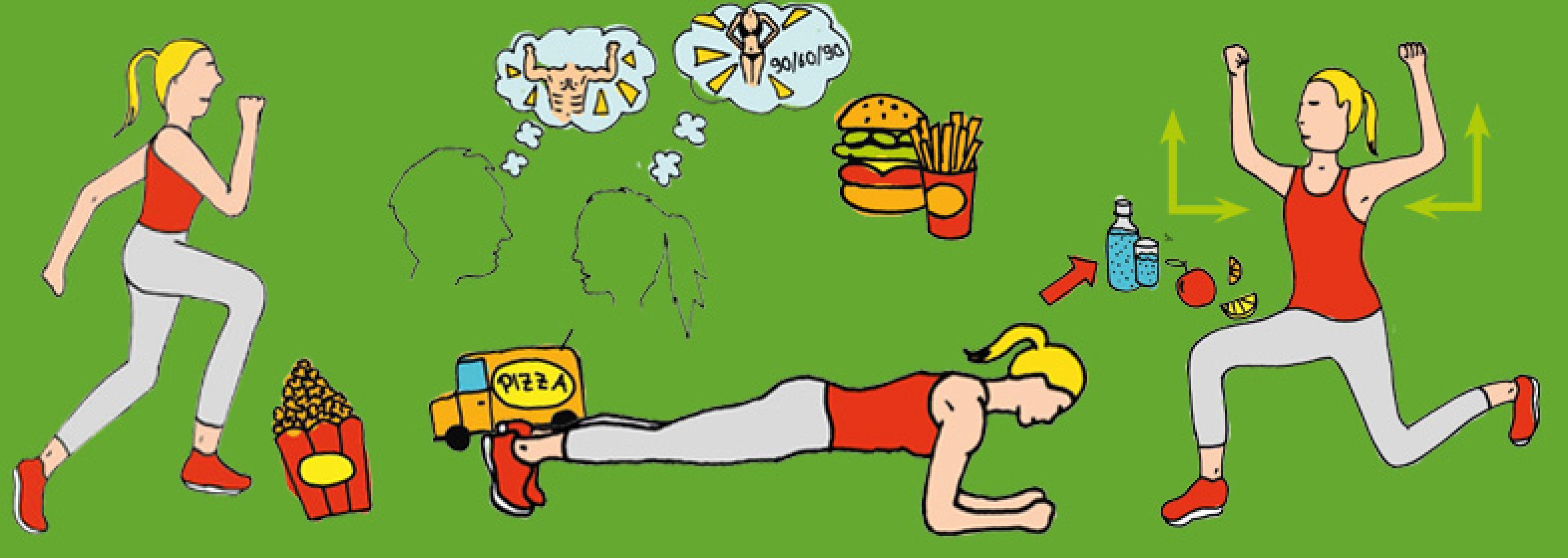 Grafik Bewegung und Ernährung - Diabetes vorbeugen