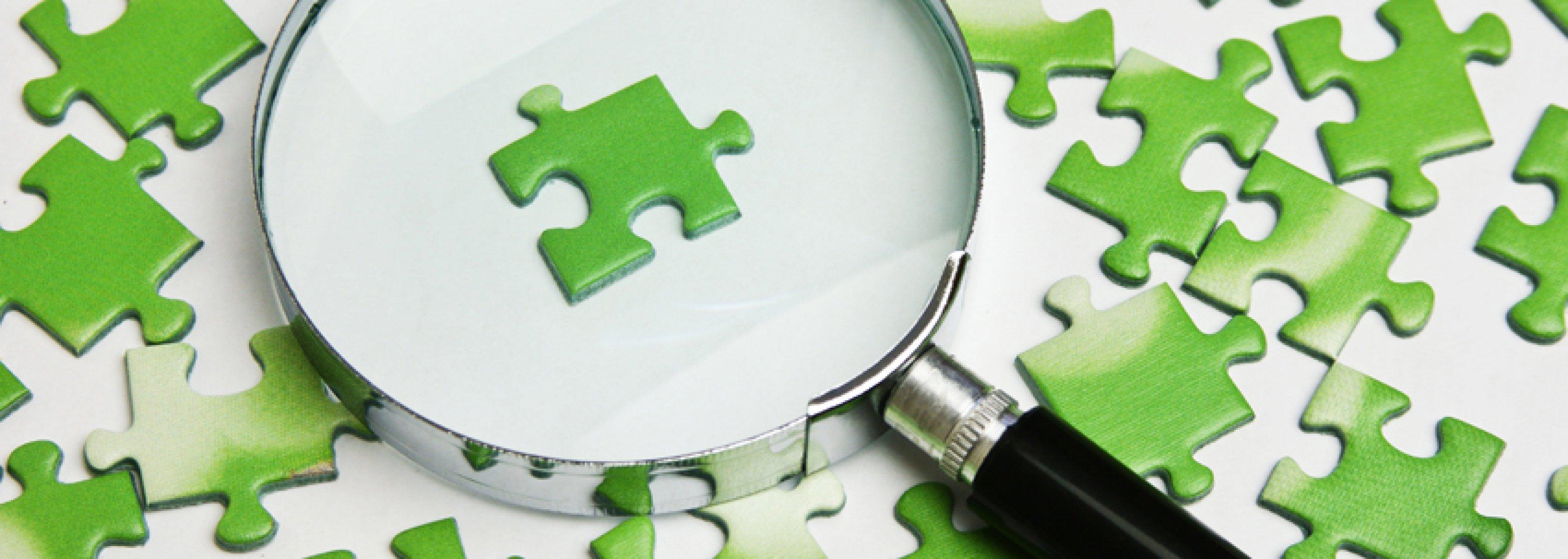 Lupe mit grünen Puzzle-Teilen