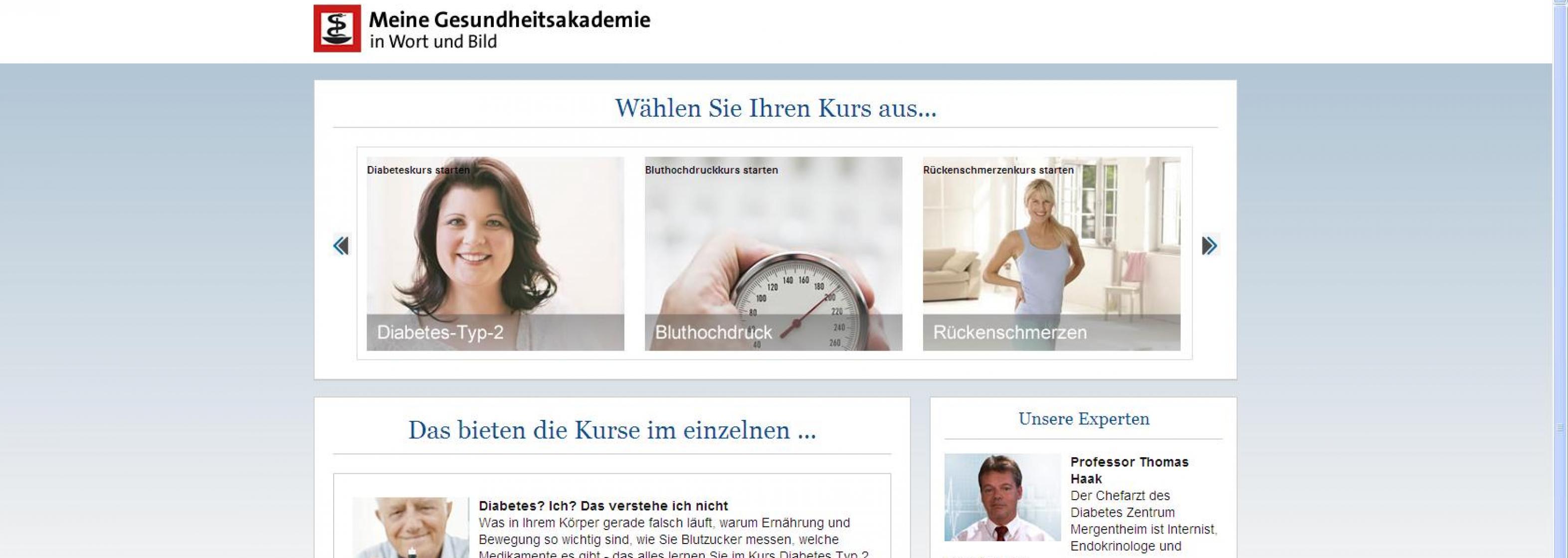 Meine Gesundheitsakademie Lernportal Screenshot