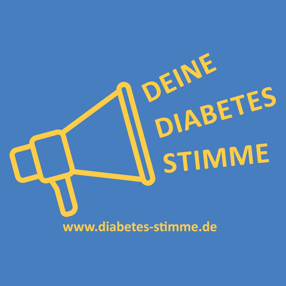 Logo Diabetes Stimme blau-gelb
